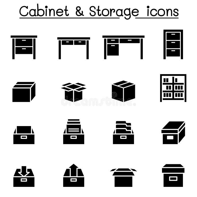 Armazenamento, armário, ícones da gaveta ilustração royalty free