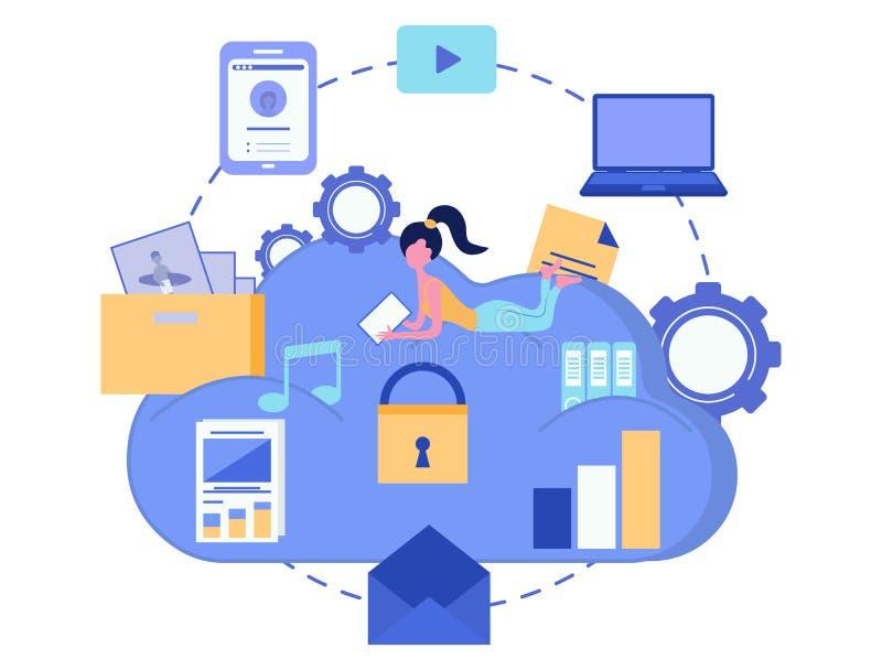 Armazenamento da nuvem Conceito da segurança dos dados SMAU 2010 - Microsoft nubla-se a computação Dispositivo do computador Ilus ilustração do vetor