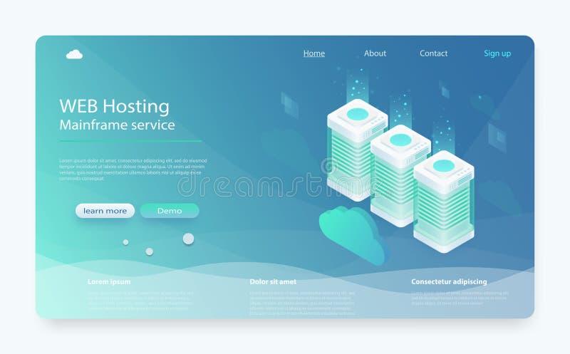 Armazenamento da nuvem do conceito, transferência de dados Tecnologia informática em linha Centro de dados, conceito do armazenam ilustração stock