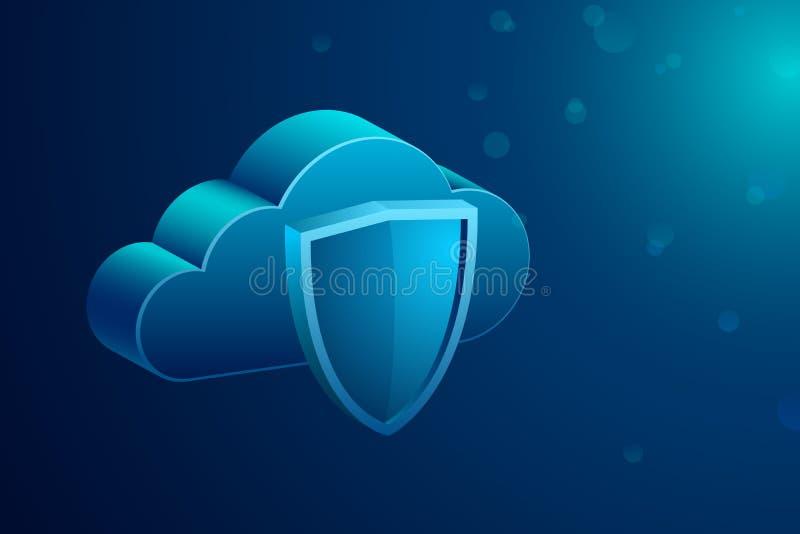 Armazenamento da nuvem e sinal do protetor, conceito da proteção de dados Ilustração isométrica do vetor ilustração do vetor