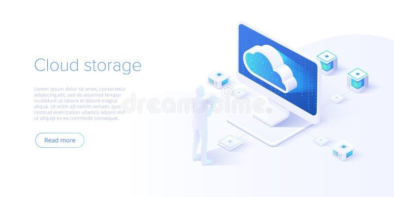 Armazenamento da nuvem e transferência do PC no projeto isométrico do vetor Servço informático ou app com transferência dos dados ilustração royalty free
