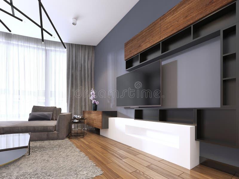 Armazenamento da tevê com as prateleiras na sala de visitas moderna com o sofá e mesa de centro e tapete grandes de canto ilustração stock