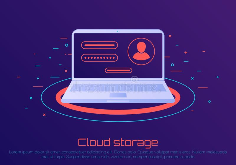 Armazenamento de arquivo da nuvem ilustração do vetor