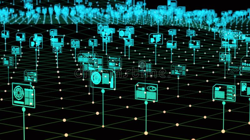 Armazenamento de dados e gestão digitais do Internet ilustração do vetor