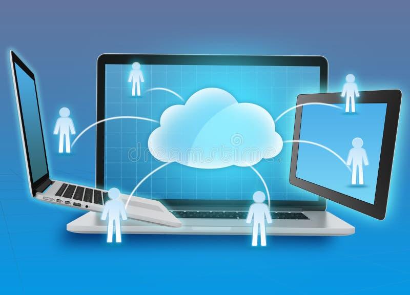Armazenamento de informação do grupo na nuvem que computa, ilustração do vetor