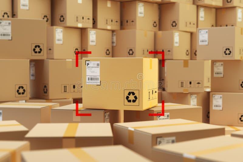 Armazenamento do armazém, conceito da entrega dos pacotes ilustração royalty free