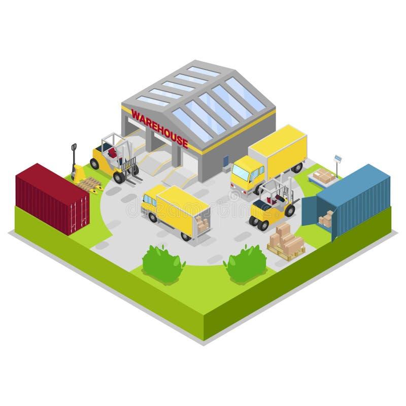 Armazenamento do armazém e ilustração do vetor da logística do transporte Carga do armazenamento e do transporte, entrega e trans ilustração do vetor