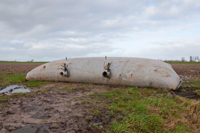 Armazenamento do estrume em um tanque flexível foto de stock
