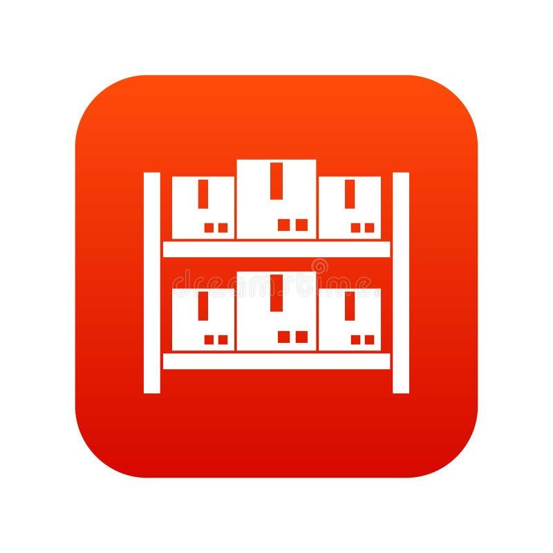 Armazenamento dos bens no vermelho digital do ícone do armazém ilustração royalty free