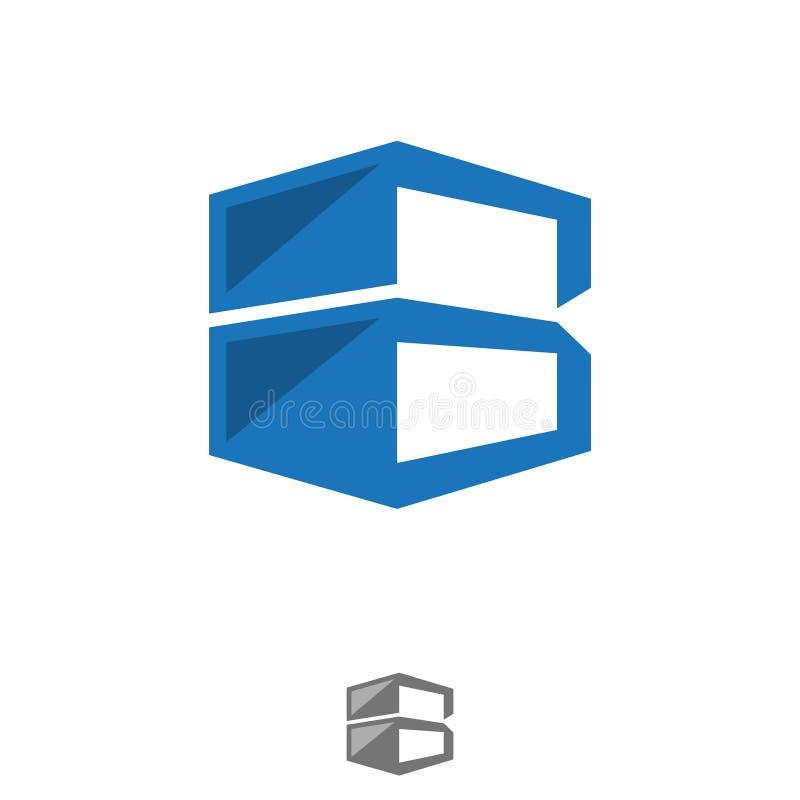 Armazenamento incorporado do molde do projeto do logotipo da letra B do negócio ilustração stock