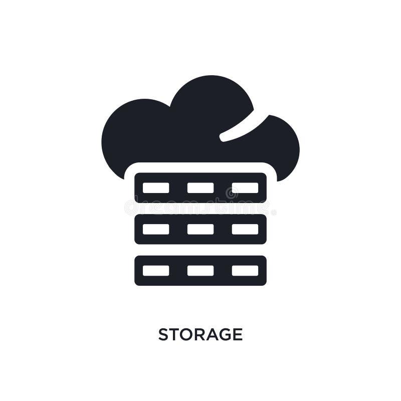 armazenamento preto ícone isolado do vetor ilustração simples do elemento dos ícones grandes do vetor do conceito dos dados logot ilustração do vetor