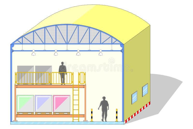 Armazene a abóbada dada forma, barraca de lona, seção do armazenamento, ilustração do vetor ilustração royalty free