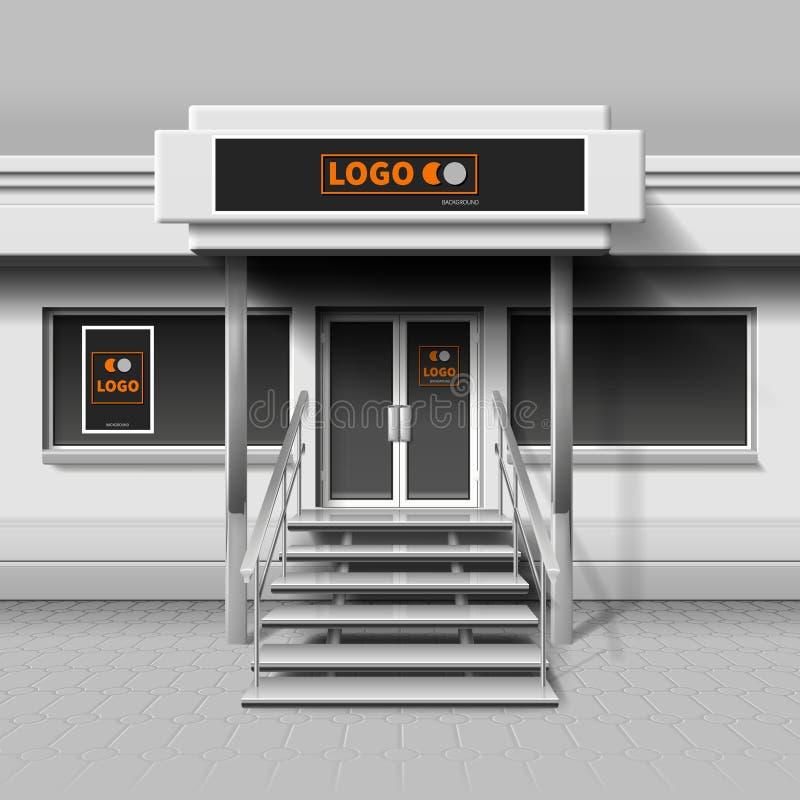 Armazene a fachada exterior para o projeto de marcagem com ferro quente e anúncio da bandeira ilustração stock