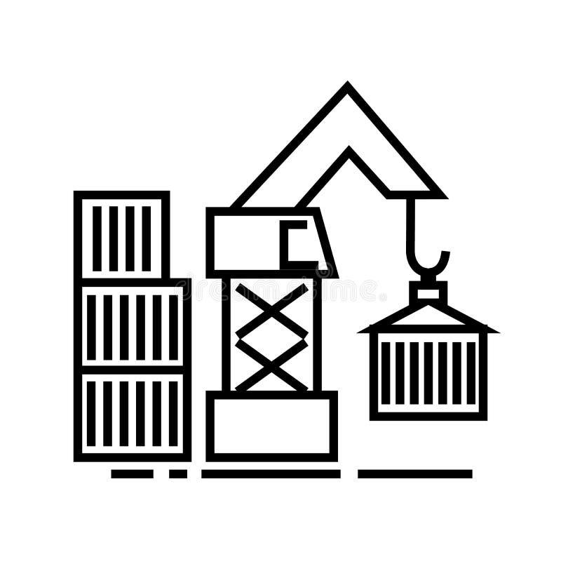 Armazene a linha ícone do vetor da carga do guindaste, sinal, ilustração no fundo, cursos editáveis ilustração do vetor