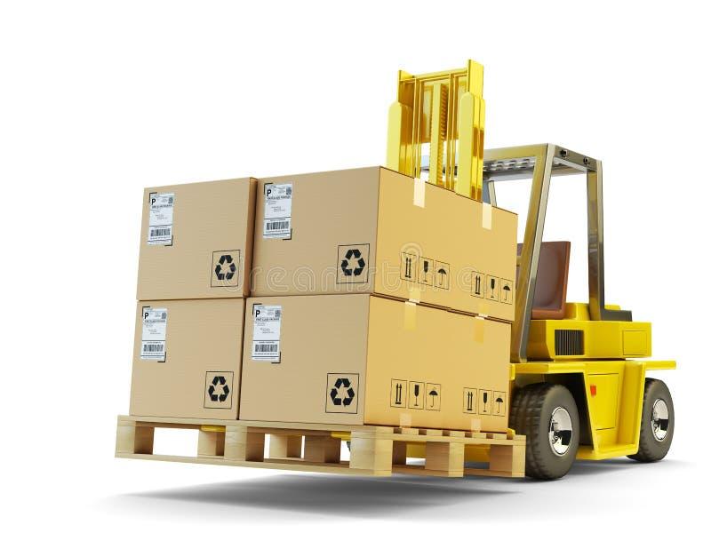 Armazene a logística, a expedição dos pacotes, a entrega e o conceito da carga ilustração royalty free