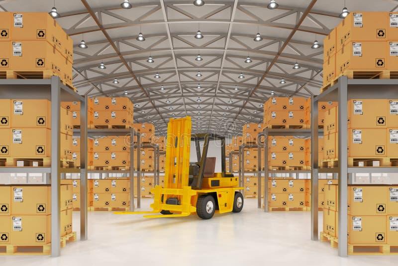 Armazene a logística, a expedição dos pacotes, a entrega e o conceito da carga ilustração do vetor
