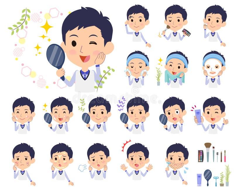 Armazene men_beauty uniforme azul do pessoal ilustração royalty free
