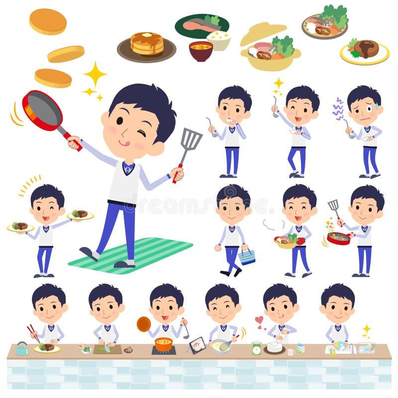 Armazene men_cooking uniforme azul do pessoal ilustração stock