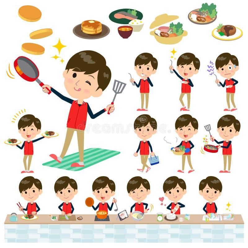 Armazene men_cooking uniforme vermelho do pessoal ilustração royalty free
