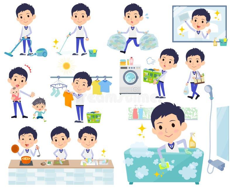 Armazene men_housekeeping uniforme azul do pessoal ilustração stock