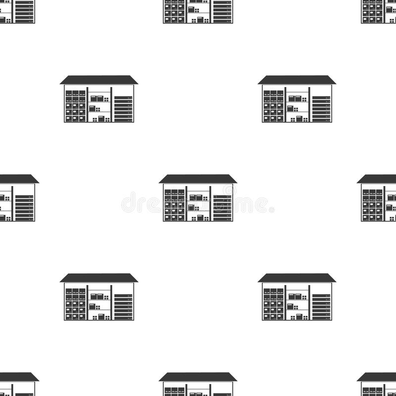 Armazene o ícone no estilo preto isolado no fundo branco Ilustração logística do vetor do estoque do teste padrão ilustração do vetor