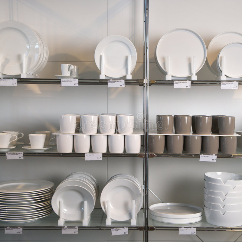 Armazene o indicador dos pratos. imagens de stock royalty free
