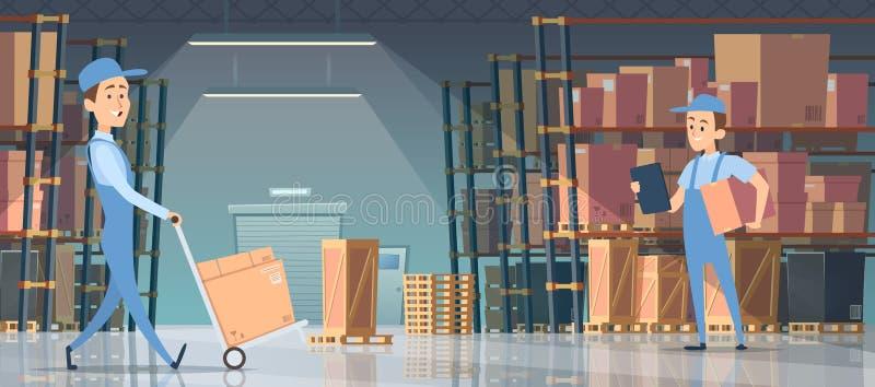 Armazene o interior Sala grande com as caixas nos carregadores dos povos das prateleiras da pálete que trabalham o vetor para den ilustração royalty free