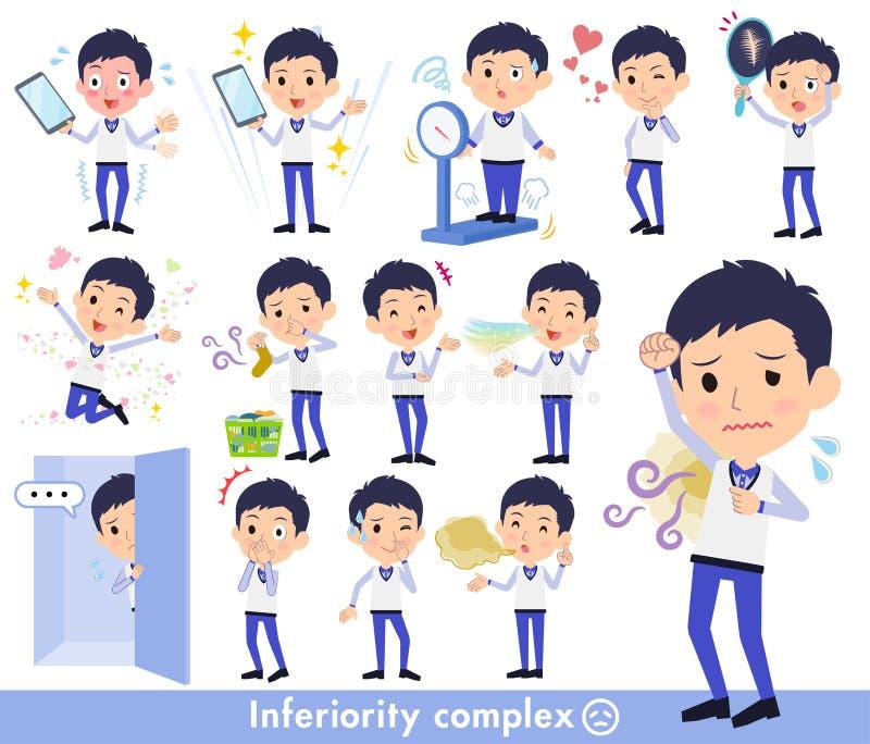 Armazene o men_complex uniforme azul do pessoal ilustração do vetor