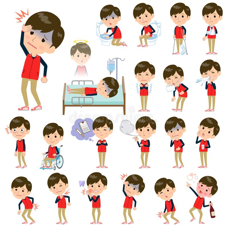 Armazene o men_sickness uniforme vermelho do pessoal ilustração do vetor