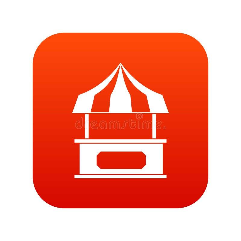 Armazene o quiosque com vermelho digital do ícone listrado do toldo ilustração stock