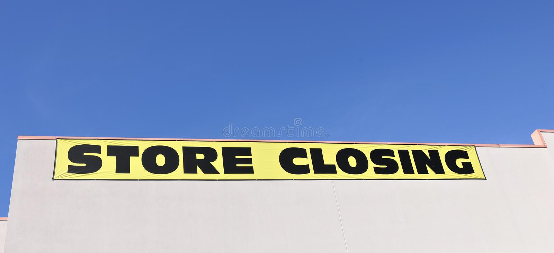 Armazene o sinal de fechamento foto de stock royalty free