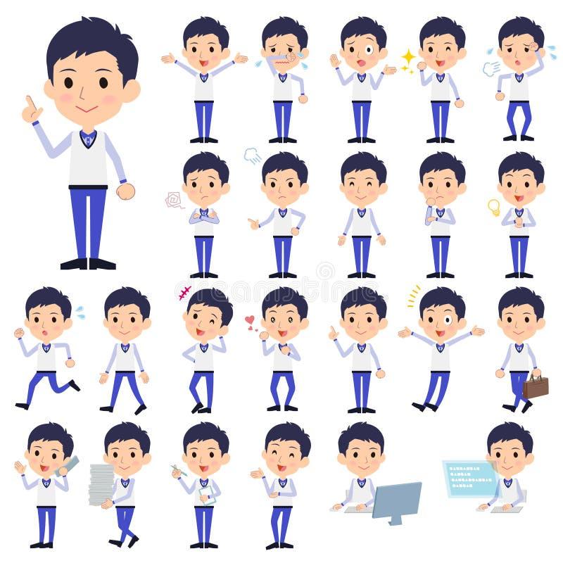 Armazene o uniforme azul men_1 do pessoal ilustração stock