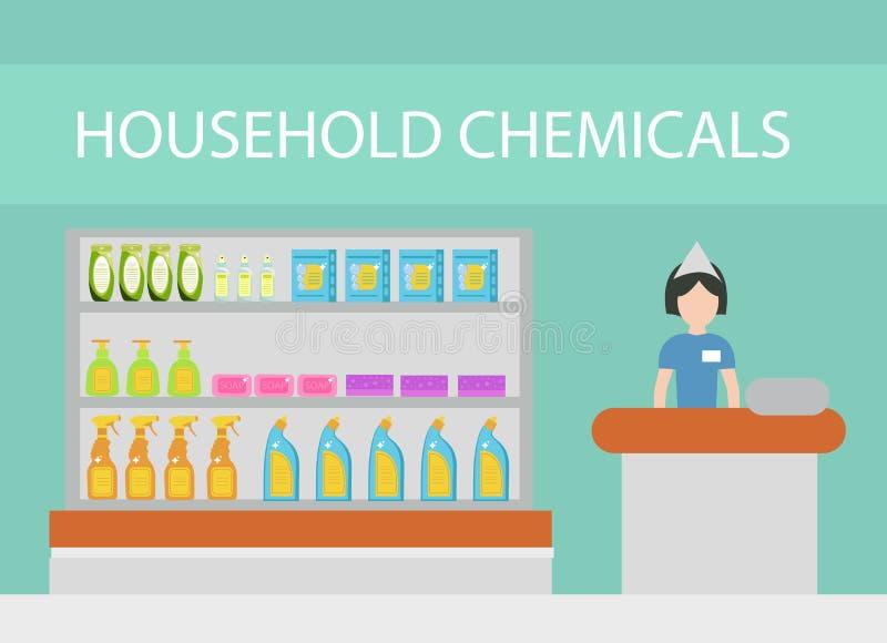 Armazene produtos químicos de agregado familiar, agentes de limpeza, detergentes, cosméticos O armazém com o agregado familiar qu ilustração stock