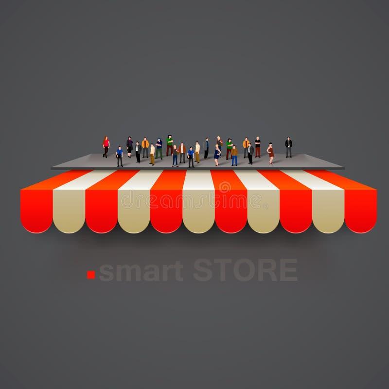 Armazene toldo listrado com multidão dos povos Vetor ilustração stock