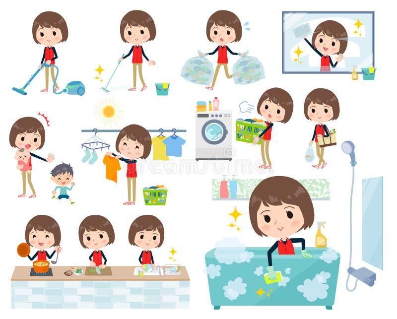 Armazene women_Housekeeping uniforme vermelho do pessoal ilustração stock