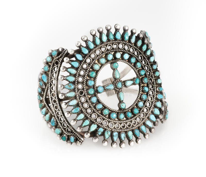 Armband van de Zuni de Turkooise Cluster. stock fotografie