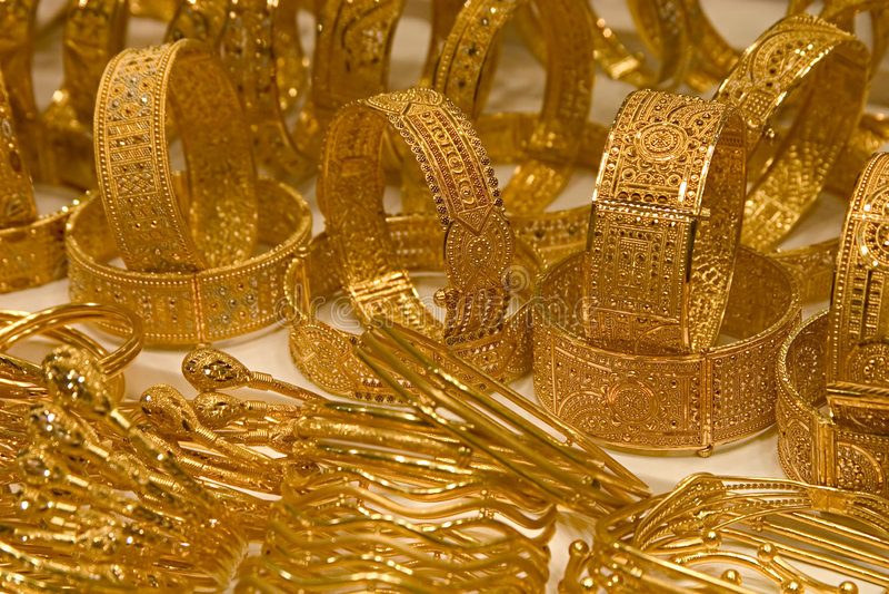 Armbanden, Doubai Gouden Souq stock afbeeldingen