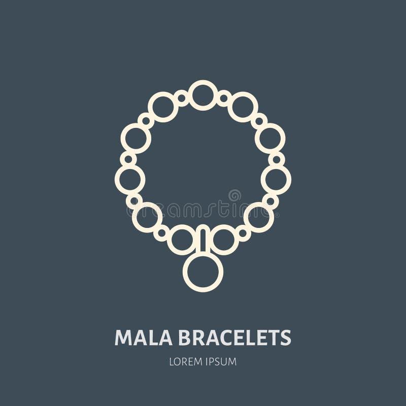 Armbanden met charmes, malaillustratie Pictogram van de juwelen het vlakke lijn, het embleem van de juwelenopslag Het teken van j vector illustratie