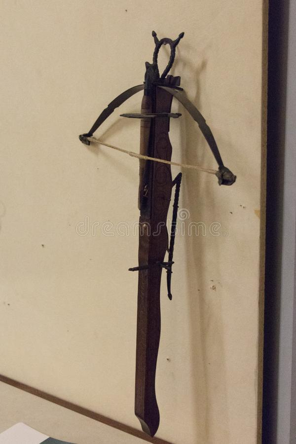 Armborst i Luigi Marzoli Arms Museum, Brescia, Lombardy, Italien arkivbilder