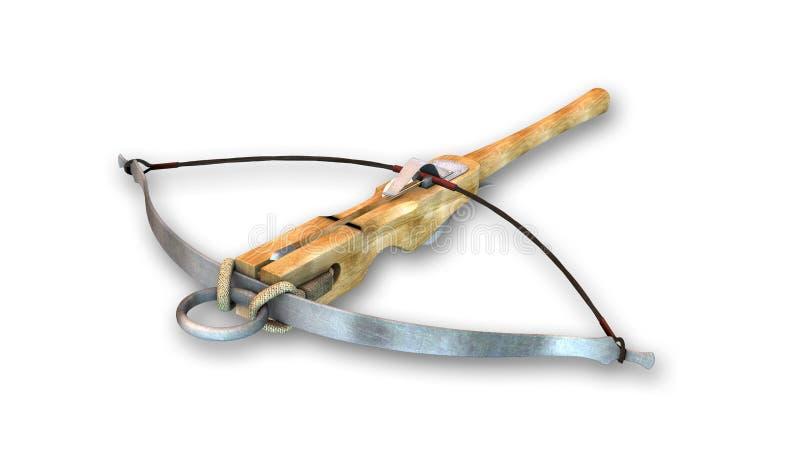 Armbrust, mittelalterliche Waffe lokalisiert auf Weiß lizenzfreie abbildung