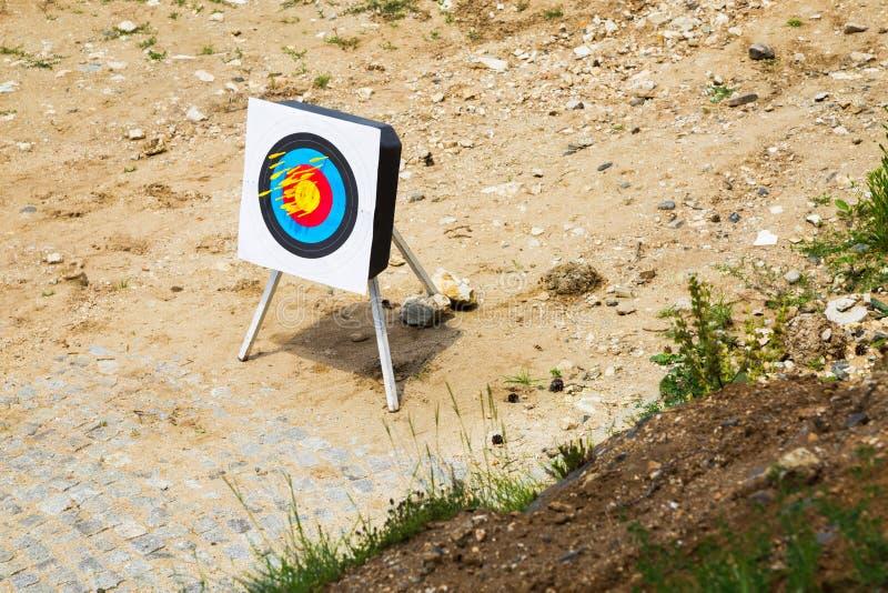 Armbrustbolzen in einem tragbaren Ziel stockfoto