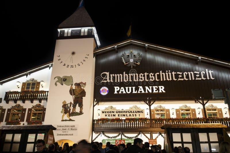 Armbrustschuetzenzelt  at Oktoberfest during night in Munich, Germany, 2015. Munich, Germany - September 26, 2015: Nightshot of the Armbrustschuetzenzelt on stock images