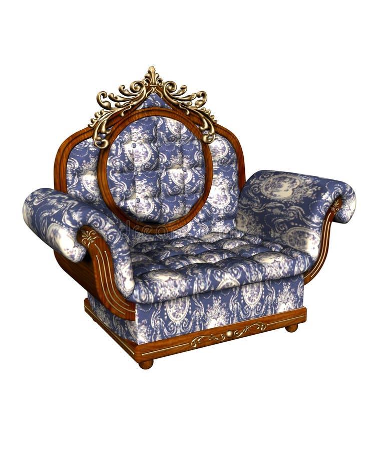 armchair blue louis xv stock illustrationer