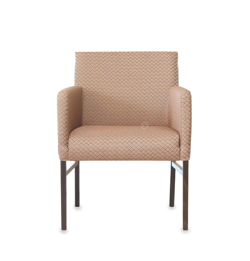 Armchair from brown clloth isolated over white stock image