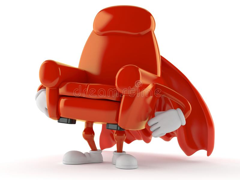 Armchair character with hero cape. Isolated on white background. 3d illustration stock illustration