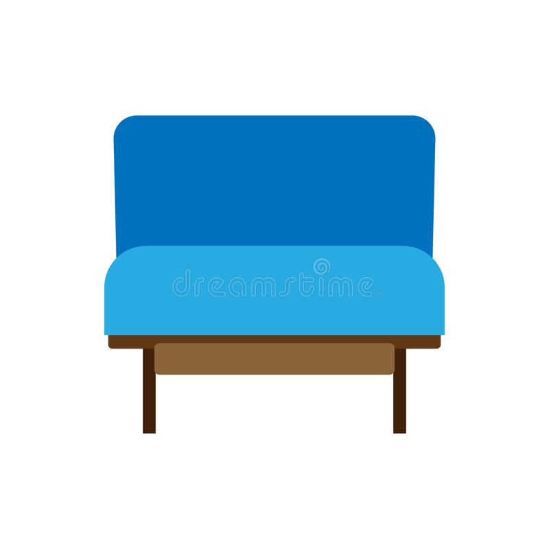 Armchair decoration comfort wooden business stylish vector icon. Relax elegant room interior front view trendy furniture royalty free illustration