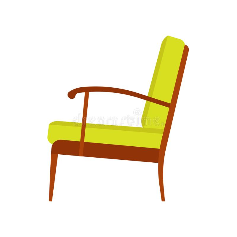 Armchair decoration comfort wooden business stylish vector icon. Relax elegant room interior side view trendy furniture royalty free illustration