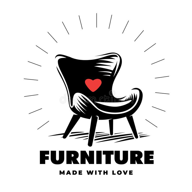 Armchair in a engraving style. Furniture logo stock illustration