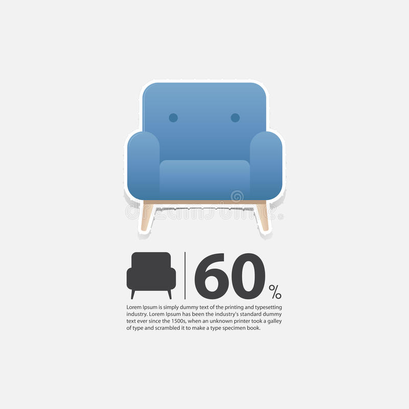 Download Armchair In Flat Design For Living Room Interior. Minimal Icon For  Furniture Sale Poster