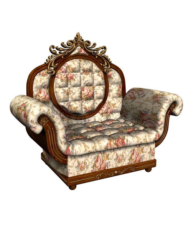 armchair floral louis white xv иллюстрация штока